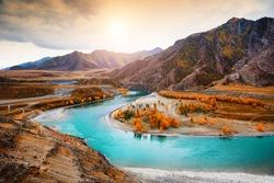 Confluence of Chuya and Katun rivers in Altai mountains, Siberia, Russia. Autumn landscape. Famous tourist destination