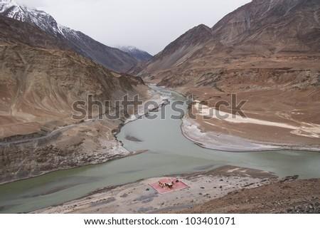Confluence of Sindhu (Indus) and Zanskar Rivers near Leh, Ladakh Jammu&Kashmir India - stock photo