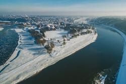 Confluence of two river (Nemunas ir Neris). Aerial image of Kaunas, Lithuania