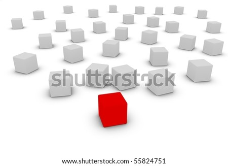 conformity versus individuality, red block in front