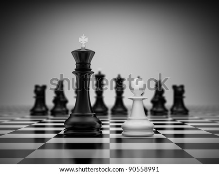 Confrontation king and pawn on chessboard