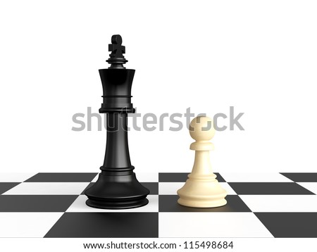 Confrontation of chess pieces king and pawn, isolated on white background.