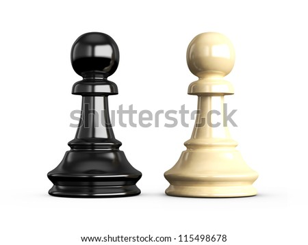 Confrontation of chess pieces pawns, isolated on white background.