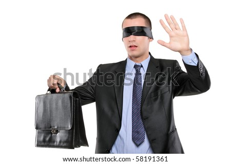 Confused blindfold businessman with briefcase isolated on white background