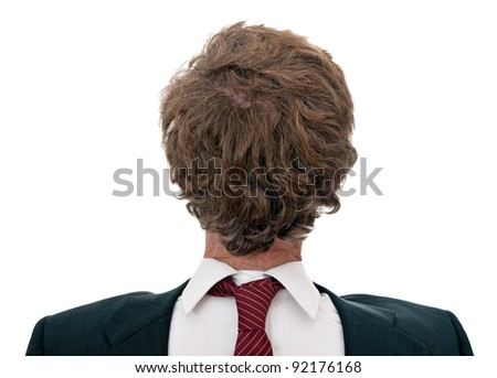 Confused businessman facing wrong direction, over white - concept