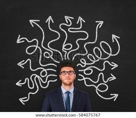 Confused businessman - people feeling confusion and chaos. Indecisive, disorientated and bewildered man stressed with headache over decision making #584075767