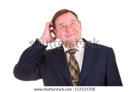 confused businessman with gesture and smile on his face, isolated on white