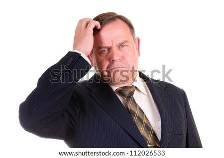 confused businessman with gesture on his face, isolated on white