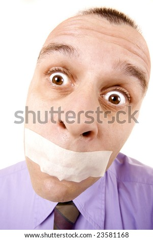 Confused businessman with taped mouth isolated on white