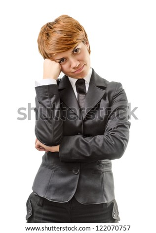 Confused Businesswoman Isolated On A White Background