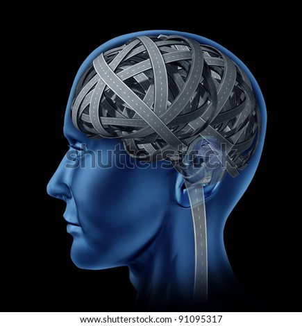 Confused human intelligence with a head and brain in the shape of tangled mixed up roads and highways for mental illness and old age memory loss and cognitive function as a health care issue.