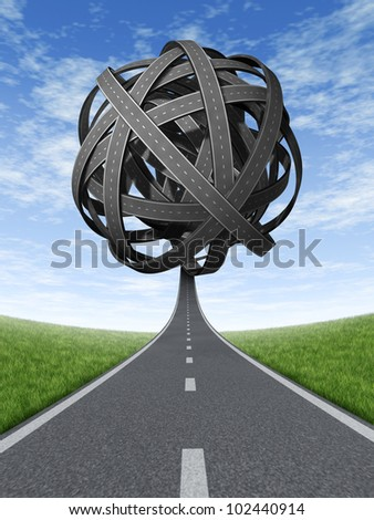 Confused solutions and strategy with goals and strategic journey choosing the right path for business with a straight path leading to a  ball of tangled roads and highways in a confused direction.