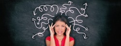 Confused woman confusion illustrated on blackboard with chalk drawing of arrows going everywhere around head showing indecision. Indecisive stressed Asian girl with headache panoramic banner.