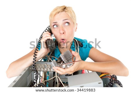 confused woman phoning technology support for computer