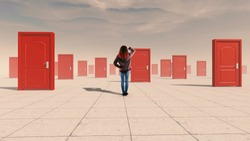 Confused woman standing in front of multiple doors . The concept of hard choices.