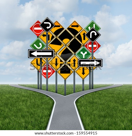 Confusing direction decision questions deciding on a clear strategy in business as a crossroads path to success choosing the right strategic plan challenged by a group of confusing traffic signs.