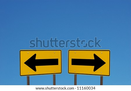 Confusing Direction Signs with Copy Space Above