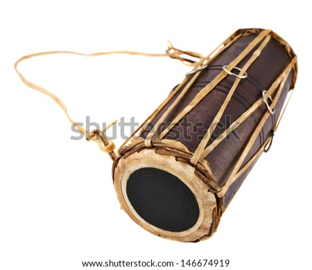Conga percussion drum instrument isolated over white background