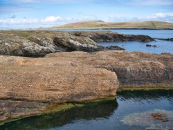 Conglomerate rock (fore) and inclined strata (behind) on the Ness of Burgi, south Shetland, UK - Hayes Sandstone Formation - Sedimentary Bedrock formed 383 to 393m years ago in the Devonian Period.