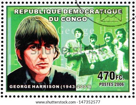 CONGO - CIRCA 2006: A postage stamp printed by CONGO shows image portrait of  famous English musician, composer, singer and songwriter George Harrison, circa 2006.