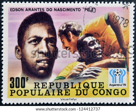 CONGO - CIRCA 1978: A stamp printed in Congo dedicated to the World Cup in Argentina 1978, shows Edson Arantes do Nascimento Pele, circa 1978