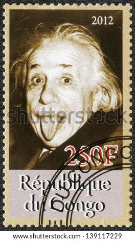 CONGO CIRCA 2012 A stamp printed in Congo shows Albert Einstein 1879-1955 circa 2012