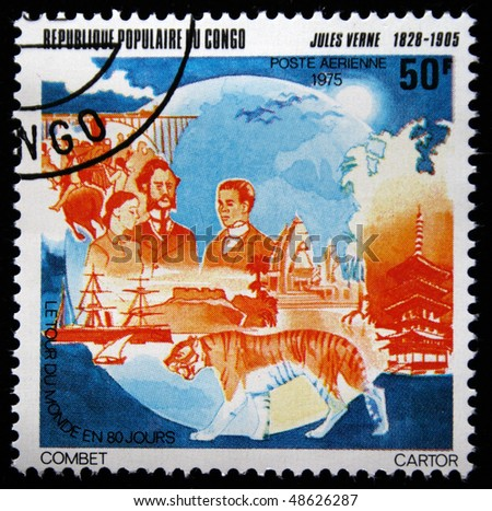 CONGO - CIRCA 1975: A stamp printed in Republic Congo shows Jules Verne, circa 1975