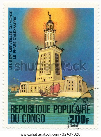 CONGO - CIRCA 1978: A stamp printed in Republic Congo shows Lighthouse in Alexandria, series Seven Wonders of the Ancient World, circa 1978