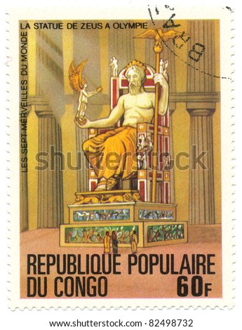 CONGO - CIRCA 1978: A stamp printed in Republic Congo shows Statue of Zeus, Olympia, series Seven Wonders of the Ancient World, circa 1978