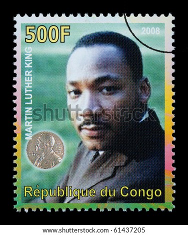 CONGO REPUBLIC - CIRCA 2008: A postage stamp printed in the Republic of Congo showing Martin Luther King, circa 2008