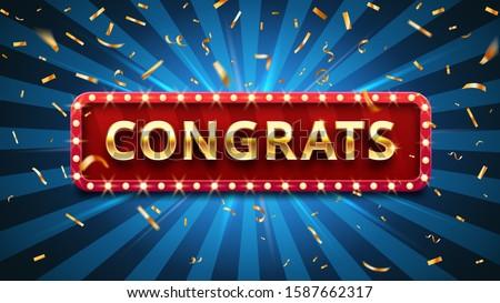 Congrats banner. Winner congratulations, gold confetti and golden congratulation sign in frame. Winners success congratulate, grad ceremony celebrate word  illustration
