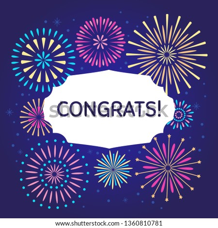 Congrats celebration firework poster. Congratulations fireworks or congratulating confetti burst birthday card with text. Holiday firecracker  illustration background