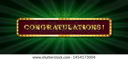 Congrats, Congratulations banner with glitter decoration. Handwritten modern brush lettering dark background. Raster copy