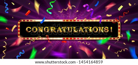 Congrats, Congratulations banner with glitter decoration. Handwritten modern brush lettering wooden background. Raster copy