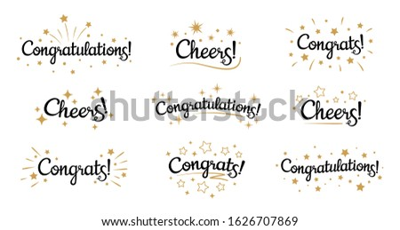 Congrats lettering. Congratulation text labels, cheers sign decorated with golden burst and stars and congratulations. Congratulate letter hand writing ink logo. Isolated  signs set