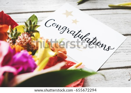 Congratulation card with flower bouquet #655672294