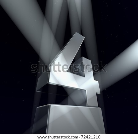 Congratulation four Number four in silver letters on a silver pedestal on a black background