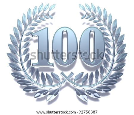 Congratulation hundred Silver laurel wreath with the number hundred inside