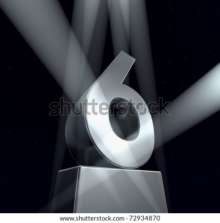 Congratulation six Number six in silver letters on a silver pedestal - stock photo