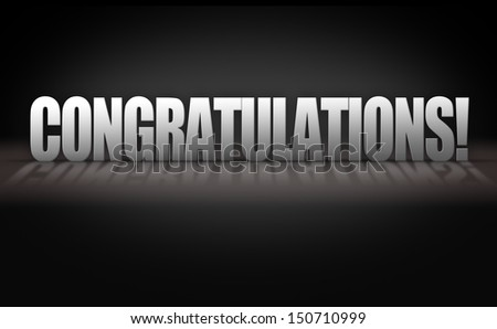 Congratulations 3D Letters on Dark Black Background Stage