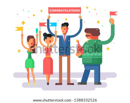 Congratulations group people. Happy woman man, cheerful congratulate illustration