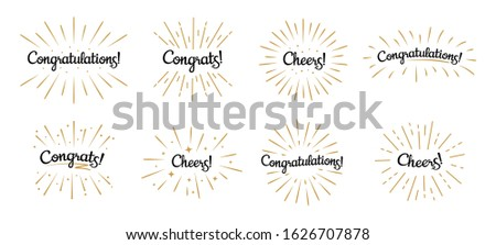 Congratulations lettering. Congrats label, cheers celebration and congratulation text badges with golden burst. Congrats quotation card. Isolated  symbols set