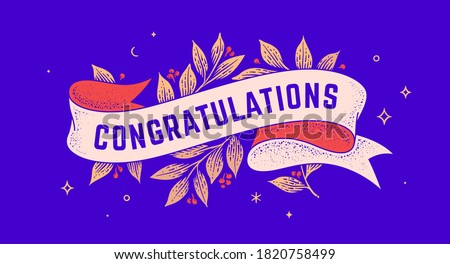 Congratulations. Retro greeting card with ribbon and text congratulations. Old ribbon banner in engraving style. Old school vintage ribbon for greeting card Congratulations. Illustration