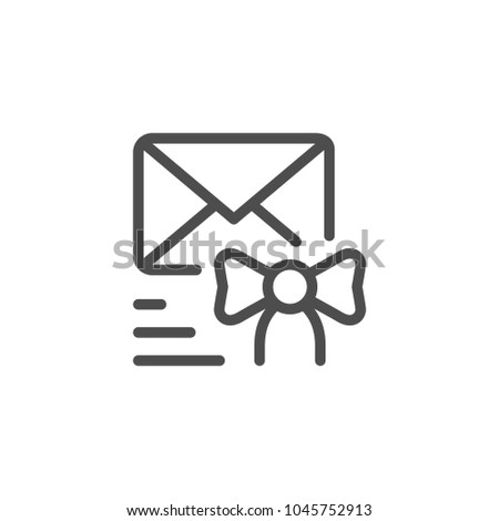 Congratulations sending line icon isolated on white