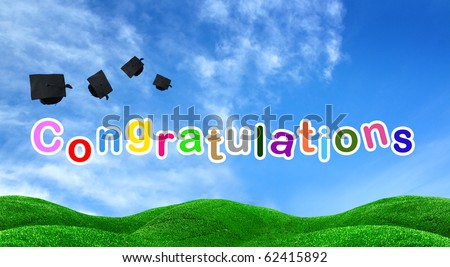 congratulations text on green field with blue sky