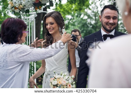 Congratulations to the newlyweds after the wedding ceremony