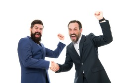 Congratulations, we did it. Happy businessmen express congratulations. Bearded men celebrate success. Congratulations on business deal. Handshaking and offering congratulations. Congrats. Hooray.