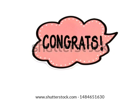 Congratulations word on white background