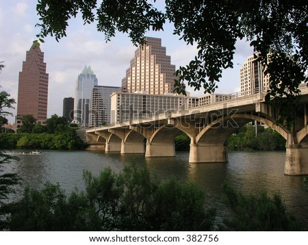 El Puente de la Calle de Congreso al centro Austin, Tejas