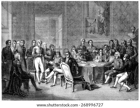 Congress of Vienna, vintage engraved illustration. History of France  1885.